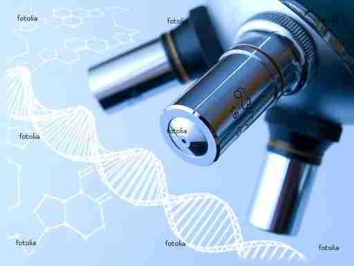 Microscope in the laboratory, and DNA molecule.